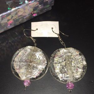Large Dichroic Glass Dangle Earrings - Handcrafted